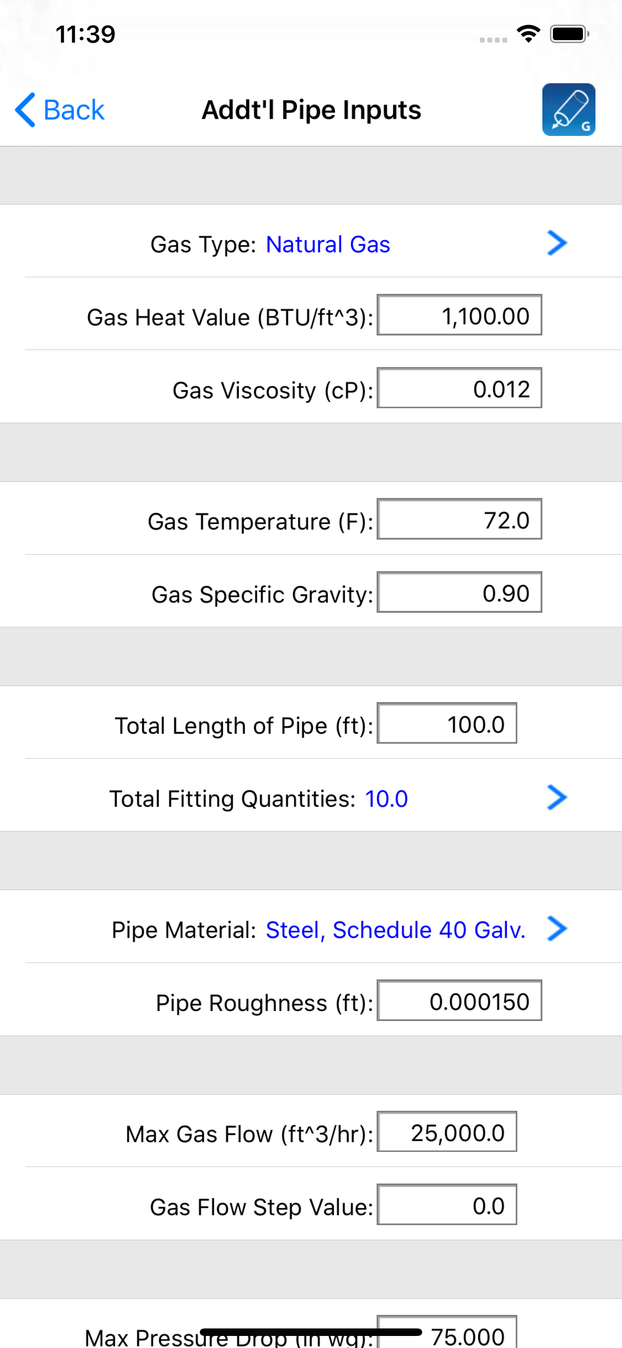 HVAC Pipe Sizer Gas Low App